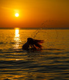 Silhouette to the beautiful girl at sunset Stock Photography