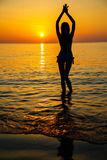 Silhouette to the beautiful girl at sunset stock photo