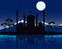 Silhouette to mosques in the night Stock Photo