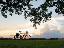 Silhouette of Touring Bike with Clouds and Tree Foliage Royalty Free Stock Images