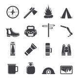 Silhouette Tourism and Holiday icons Stock Image