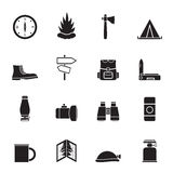 Silhouette Tourism and Holiday icons Stock Photo