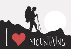 Silhouette of tourist with backpack are walking among the mountains. Handwritten lettering I love Mountains. Silhouettes of mountains, tourist with backpack Stock Photo