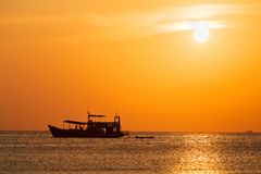 Silhouette of tourist diving boat , Thailand. Silhouette of tourist diving boat , Ko Pha Ngan ,Thailand Royalty Free Stock Image