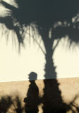 Silhouette of tourist and palm tree Royalty Free Stock Images