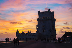 Silhouette of Tower of Belem (Torre de Belem) at sunset Stock Photo