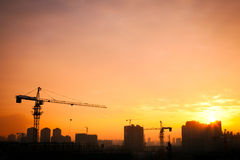 Silhouette of the tower crane Royalty Free Stock Photography