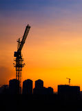 Silhouette of the tower crane Royalty Free Stock Images