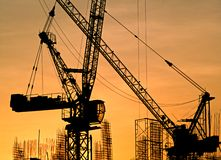 Tower crane on the construction site Stock Images