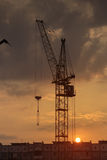 Silhouette of the tower crane on the construction site with city building background Royalty Free Stock Image
