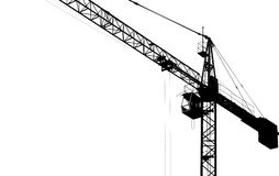 Silhouette of tower crane Royalty Free Stock Photo