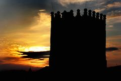 Silhouette of tower at Lubart`s Castle in Lutsk, Ukraine.  Stock Image
