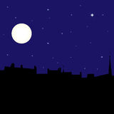 Silhouette of town at night, vector illustration. Silhouette of town at night on the background of moon and starry sky, vector illustration Royalty Free Stock Photos