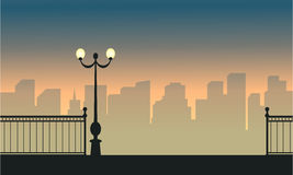 Silhouette of town and street lamp landscape. Vector illustration vector illustration