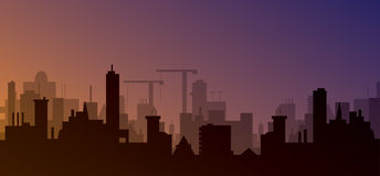 Silhouette of town Royalty Free Stock Photography