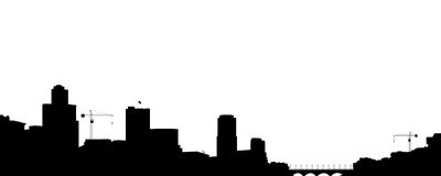 Silhouette of the town. Royalty Free Stock Image