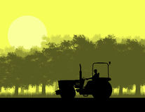 Silhouette of tractor in forest Stock Photos