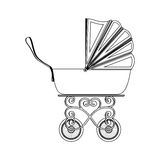 Silhouette traditional baby carriage with soft top Stock Photo
