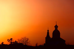 Silhouette of traditional Russian Church. Royalty Free Stock Image
