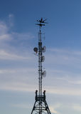 Silhouette on transmitting tower Royalty Free Stock Photography