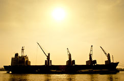 Silhouette  Transport Boat Royalty Free Stock Photography