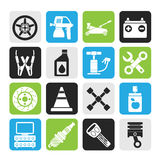 Silhouette Transportation and car repair icons Stock Image