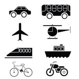 Silhouette of Transportation icon set vector Stock Image