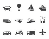 Silhouette Transportation and travel icons. Vector icon set Royalty Free Stock Photography