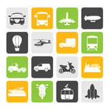 Silhouette Transportation and travel icons. Vector icon set Stock Images