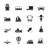 Silhouette Transportation, travel and shipment icons. Vector icon set Stock Images