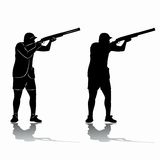 Silhouette trap shooter. vector drawing Royalty Free Stock Photography