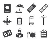 Silhouette Travel, Holiday and Trip Icons Stock Photography