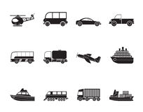 Silhouette Travel and transportation icons Royalty Free Stock Image