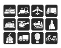 Silhouette Travel and transportation icons Royalty Free Stock Photography