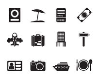 Silhouette travel, trip and holiday icons Royalty Free Stock Photo