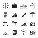Silhouette travel, trip and tourism icons Stock Image
