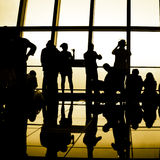 Silhouette of the traveler Stock Photo