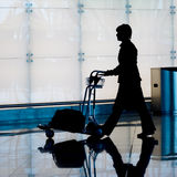 Silhouette of a traveler Royalty Free Stock Image