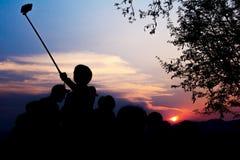 Silhouette Of Travelers Enjoy Stock Photos
