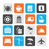 Silhouette Traveling and vacation icons Stock Photos