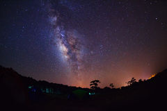 Silhouette of Tree and beautiful milkyway on a night sky, Long e stock images