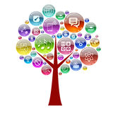 Silhouette of a tree consisting of apps icons Stock Photo