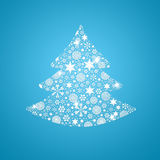 Silhouette of tree filled with snowflakes Stock Photography