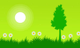Silhouette of tree with flower at spring landscape. Illustration Stock Photography