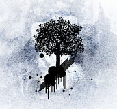 Silhouette tree on grunge background Stock Images