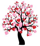 Silhouette of tree with hearts theme 1 Stock Photos