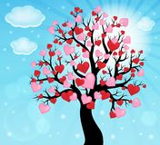 Silhouette of tree with hearts theme 2 Stock Photo