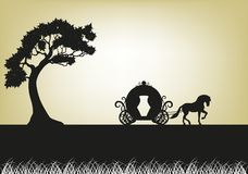 Silhouette of Tree and horse - drawn carriage Royalty Free Stock Images