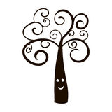 Silhouette of tree icon. For Halloween  on white background Stock Image