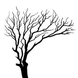 Silhouette on tree isolated. Black silhouette on tree isolated illustration Stock Photos